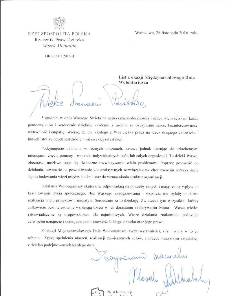 List z okazji miedzynarodowego dnia wolontariusza